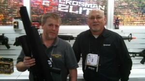 John Bowe (L) holding the Bulldog .357 Airgun with Mark DeBoard (R) at Crosman