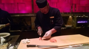 Shibuya Chef Harvo - preparing Salmon Sashimi