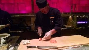 Shibuya Chef Harvo - preparing Salmon Sashimi