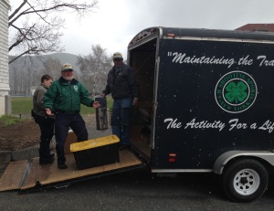 NYS4-HSS Volunteers, unloading trailors and setting up among the falling snow flakes on April 23, in Lake George, NY - Christine Hodorowski (L), Ron Surdyka (M) & Russ Lehr (R)
