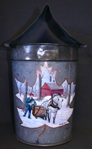 Sugaring Scene on Vintage Sap Bucket by Molly Pokrzywka, 2016 Artist of the Year