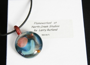 Hand Blown Glass Pendant by Larry Rutland, North Creek Studios