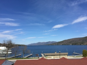 View of Lake George from outside Towers Hall