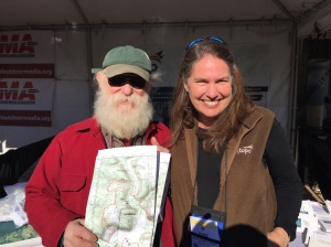 NYS4-HSS Education Specialist Kenyon Simpson (L) with Paige Darden (R) at the MyTopo booth at Industry Day at the Range