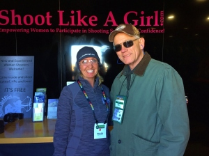 Rebecca King (L) from Shoot Like a Girl with NYS4-HSS Director Bill Schwerd (R) at Industry Day at the Range