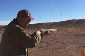 NYS4-HSS Director Bill Schwerd tests the new enhanced Stevens Model 555 Over & Under 20 Gauge at Industry Day at the Range