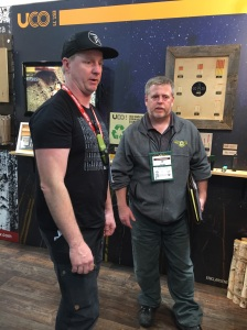 NYS4-HSS Assistant Director, John Bowe (R) discussing tools and equipment for Shooting Sports and The Adirondack Guide Program with Ken Bathurst from Industrial Revolution (L)